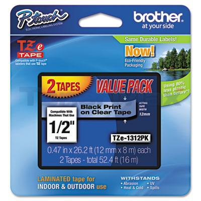 BROTHER TZ LAMINATED TAPE BLACK ON WHITE VALUE PACK